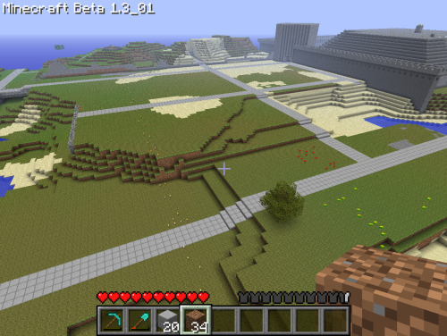 The land shaping to what I wanted.. Got the roads started out for my city blocks.