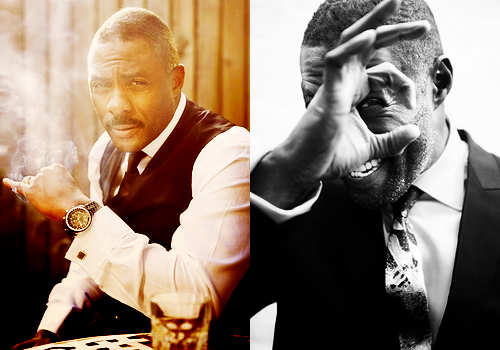 cloudsinmyeyes:  [Image description: two photographs of Idris Elba. In the first he is smoking and looking directly at the camera, and in the second he is mugging for the camera.] Are you kidding me with your ridiculous face, sir?