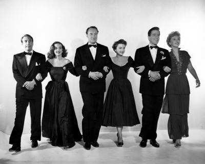 The cast of All About Eve (L to R): Gary Merrill, Bette Davis, George Sanders, Anne Baxter, Hugh Marlowe, Celeste Holm
