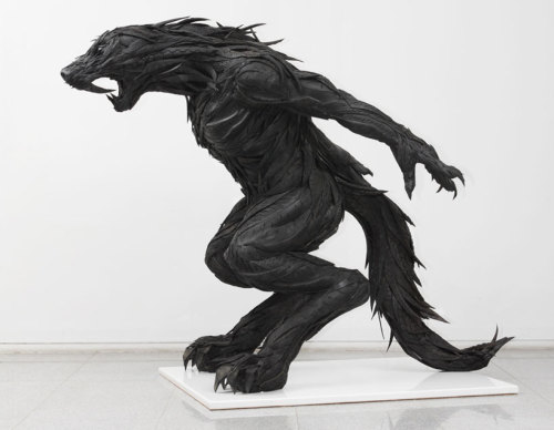 iheartmyart:  Yong Ho Ji, wolf man 1' (hybrid human), 2010, 130 x 240 x 180 cm, used tires, steel, synthetic resin image courtesy of gana art