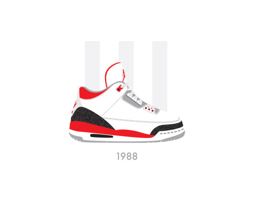 Air Jordan 3 (III) White/Fire Red by Bruce Yan