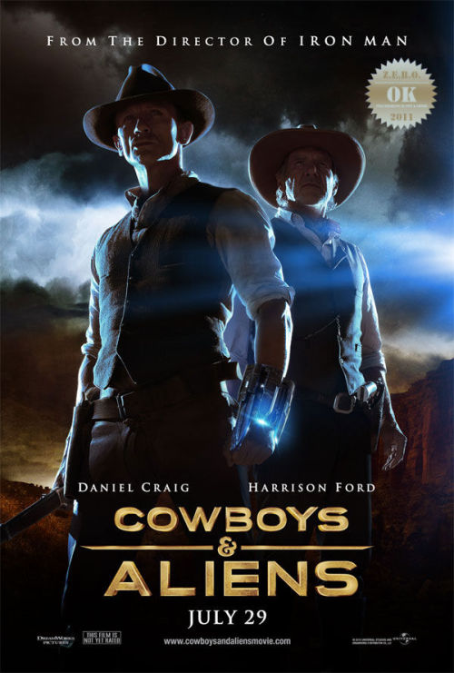 "Cowboys & Aliens (2011) A spaceship arrives in Arizona, 1873, to take over the Earth, starting  with the Wild West region. A posse of cowboys are all that stand in  their way. Jon Favreau ""you da man"" i admire yo work. This one was a tough one to judge. I initially thought this was a Wild Wild West  (1999) mash-up with Outlander (2008). But then it dawned on me… fuck… it's exactly like High Plains Invaders  (2009). Thankfully, this had a solid cast and great special effect work. This was a different western - obviously. The alien race was ""ok"" and their methods were… a tad bit convenient, in regards to the whole western/cowboy/gold mining theme.  Craig. Daniel Craig did a stupendous job, Alongside legendary Harrison Ford! who fuckin' tore it up once again. That smirk gets me every time. Olivia Wilde was gorgeous, as usual… those damn eyes that hot bod. And Sam Rockwell rocks it as well, taking the passenger seat (so to speak) and yet holding his own. Everyone else = excellent. A western with guns aimed at kids. Fun, thrilling and satisfied my popcorn movie craving. Wasn't my cup-o-tea but it did it's job… entertain."