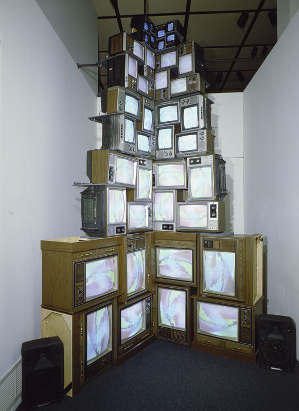 Nam June Paik, V-yramid, 1982. 40 televisions and videotape