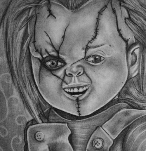 Chucky from childs play sketch I did last night its in charcoal, 2b and 8b pencils on A3 paper.