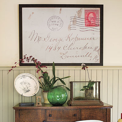 truebluemeandyou:   DIY Enlarge and Frame Old Letters. Love this idea. From Southern Living here. My Grandfather used to address letter to me in gorgeous old fashioned script and they would look so lovely enlarged, like when he simply wrote to me at Chase Manhattan Bank, NYC and it actually got to me because I worked in the building! But it could be sentimental cards, letters, envelopes with interesting stamps - anything that means something to you. Places like adorama (my favorite for quality and sale prices) often have great sales on big prints.
