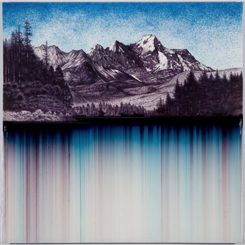artchipel:  Shane McAdams - Synthetic Landscape 15. Ball point pen and resin on canvas over panel, 24 x 24 inches (2010)