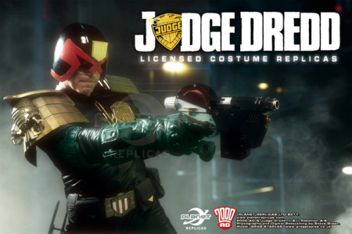 Today's announcement:  Prepare to dispense justice like Judge Dredd and Judge Anderson - officially licensed Judge replica costumes from Planet Replicas are coming!Faithfully reproduced from 2000 AD's most famous lawman of the future, the costumes complete with the distinctive helmet, name badge, pads (shoulder, knee and elbow) utility belt, Lawgiver (sadly, not operational) and gloves.All other items can also be sourced through Planet Replicas. Personal customisation will be available, as well as other options.With the choice of male and female Judge costumes, outfits for the whole family are a possibility – ideal if you are setting up your own Mega-City One Sector House.Published once a week in 2000 AD and monthly in the Judge Dredd Megazine, Dredd is judge, jury and executioner all rolled into one while his irreverent partner in crime-busting, Judge Cassandra Anderson, is a powerful psychic who uses her mind to root out lawbreaking.Created by John Wagner with Carlos Ezquerra (Dredd) and Brian Bolland (Anderson), Dredd and Anderson patrol the dystopian streets on their huge Lawmaster bikes and dispense violent justice with their Lawgiver sidearms.For more information please contact info@planetreplicas.com and check out the promotional photos on www.planetreplicas.com  These replicas are from the same folks who produced the Judge Minty fan film uniforms, so they are top of the range and you'll have seen them around, obviously in the fan film teaser but also in some of the SDCC photographs. Here is the Anderson one:
