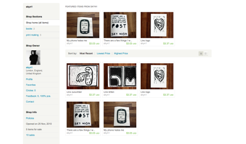 Did you all see my three lino prints? My logo, the ninja kitten and the cucumber being sick? Now you can own one!!
