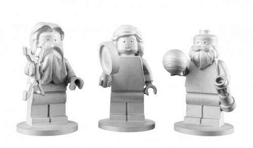 inothernews:  WHERE NO LEGO…   Specially-designed Lego minifigs, crafted out of aluminum (instead of the usual acrylonitrile butadiene styrene, or ABS plastic) representing the Roman gods Jupiter and Juno and astronomer Galileo Galilei, will fly aboard NASA's Juno spacecraft when it launches toward Jupiter on August 5.  (Photo via Discover)   So cool!
