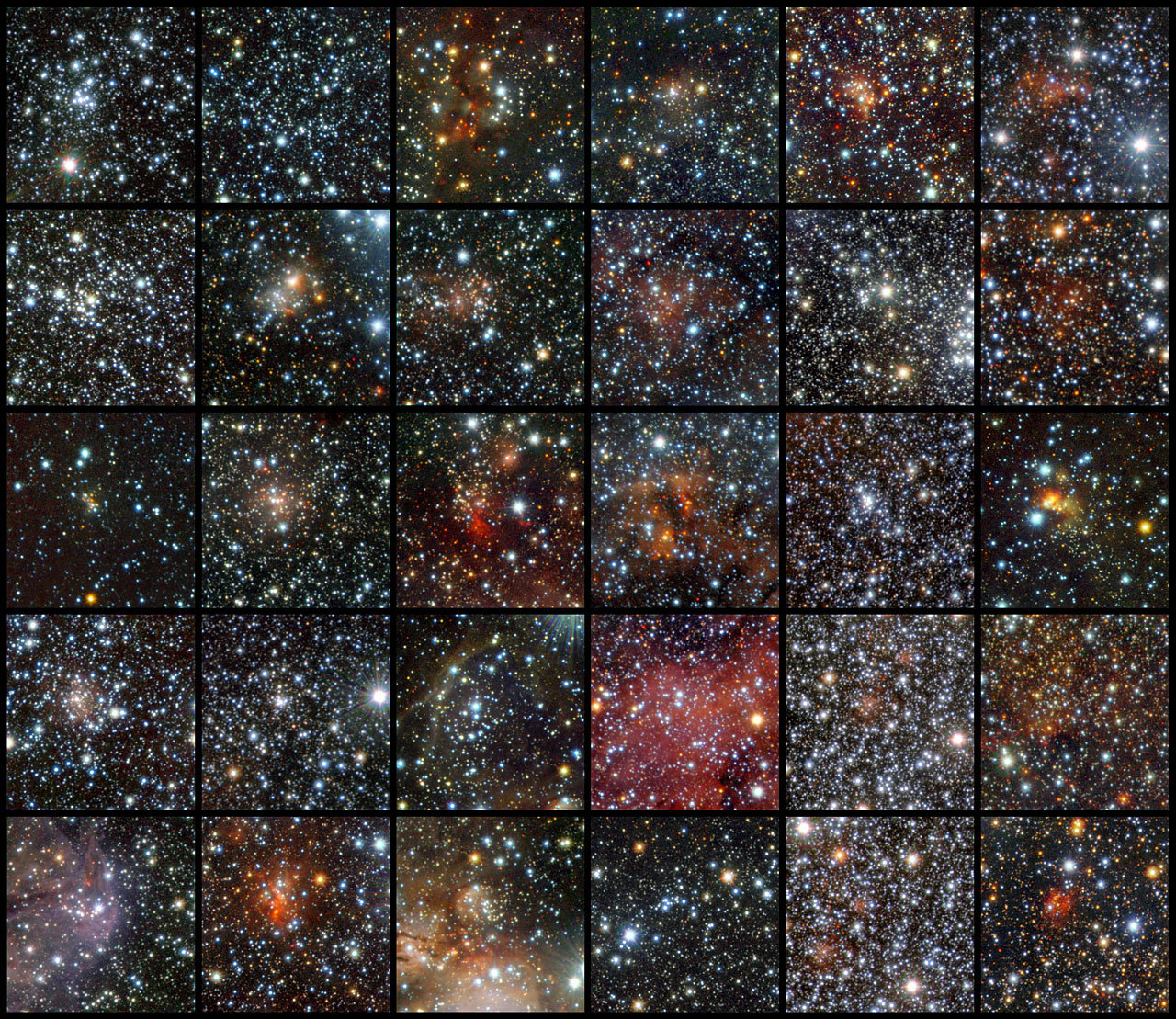 VISTA Finds 96 Star Clusters Hidden Behind Dust ESO's infrared survey telescope digs deep into star-forming regions in our Milky Way. Using data from the VISTA infrared survey telescope at ESO's Paranal Observatory, an international team of astronomers has discovered 96 new open star clusters hidden by the dust in the Milky Way. These tiny and faint objects were invisible to previous surveys, but they could not escape the sensitive infrared detectors of the world's largest survey telescope, which can peer through the dust. This is the first time so many faint and small clusters have been found at once. Keep reading.