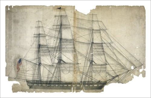 "todaysdocument:  On August 19, 1812, the USS Constitution earned its venerable nickname ""Old Ironsides"" when it defeated the HMS Guerriere in a renowned engagement during the War of 1812. ""USS Constitution, Outboard Profile with Sail Plan"", Records of the Bureau of Ships ""Capture of the Guerriere by the Constitution. August 1812."" Engraving by T. Birch Old Ironsides  The Constitution is a gorgeous ship - I was lucky enough to see it sail in Boston on the 4th of July a few years back."