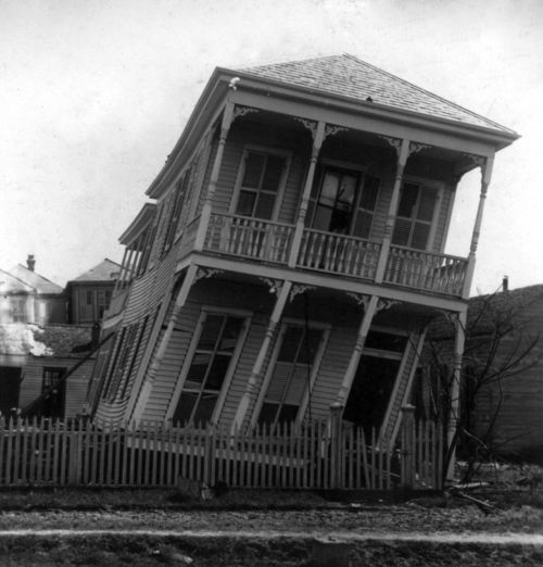 holdthisphoto:  Twisted House after Galveston Hurricane, 1900