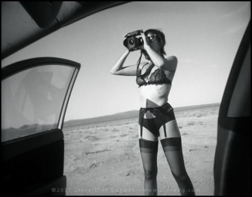 Alejandra Guerrero, El Mirage CA 2008 - Photographed in the Mojave Desert on Tmax 400 film with a Holga camera.  Alejandra's Tumblr feed: http://corporatevampire.tumblr.com | www.stevedietgoedde.com
