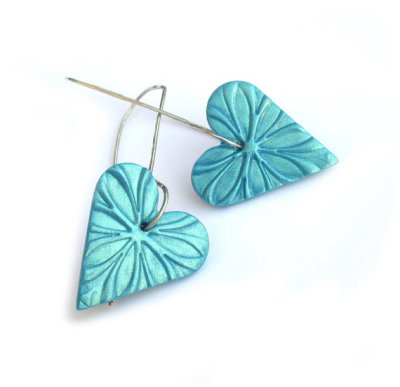 ADORABLE~!  LOVE THESE~! galeazglass:  (via Heart hoop earrings polymer clay turquoise jewelry by JPwithlove)