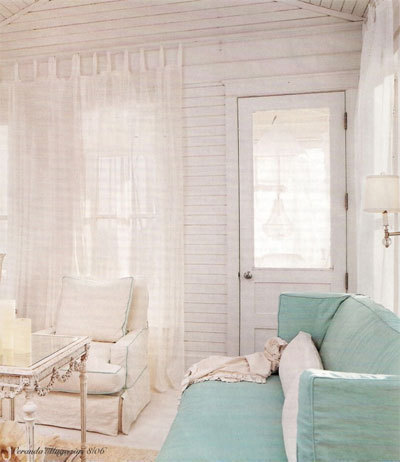 Beachy Beach House with a pop of turquoise from the couch!