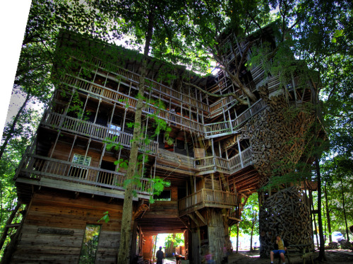 "The Minister's Tree House, Crossville (Cumberland Co.), Tennessee.  The world's tallest tree house, built by Horace Burgess (who had a vision from the Lord), using tons of reclaimed wood. It is now apparently abandoned, yet there are still posts by folks who have visited and explored the ten-story-tall structure (100 feet into the treetops):  ""I whispered a prayer that building code inspectors never happen out this way. Amen."""