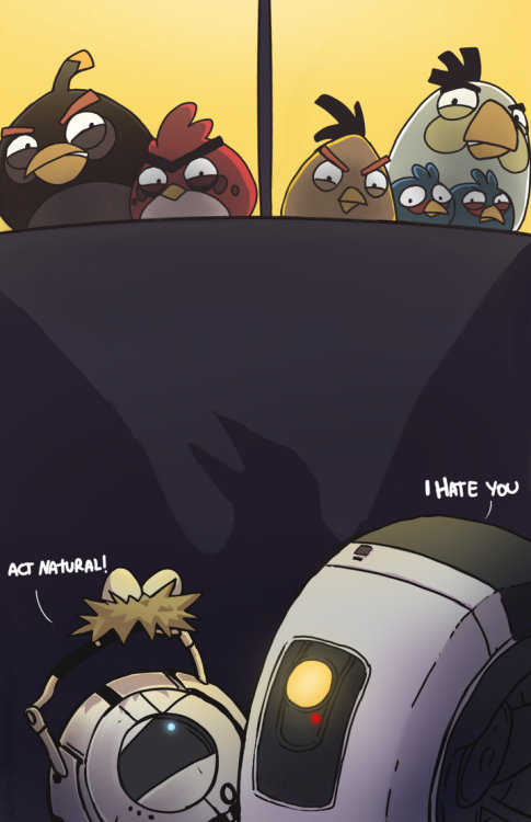 svalts:  Portal Meets Angry Birds - by Gladosy Portal's Wheatley and GLaDOS are in a heap of trouble as they run into the Angry Birds in this hilarious illustration by Gladosy. (Via: justintr)  Portal 2 +  Angry Birds