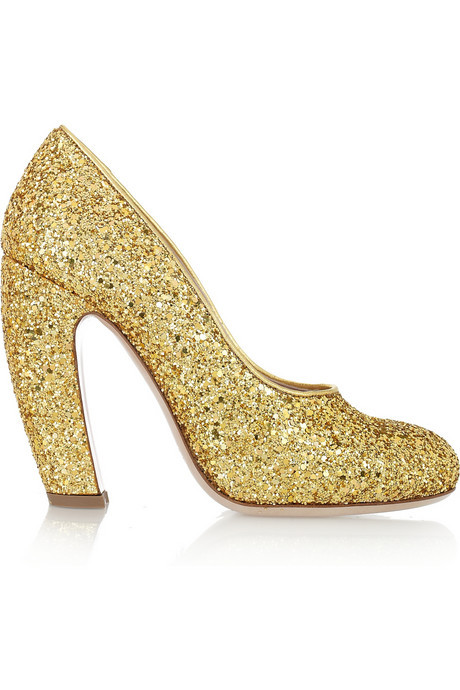 Miu Miu Glitter Finish Leather Pumps