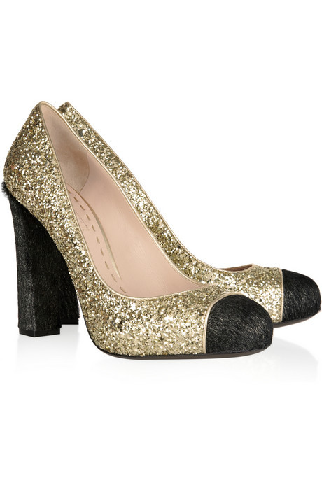 Miu Miu glitter and calf hair pump