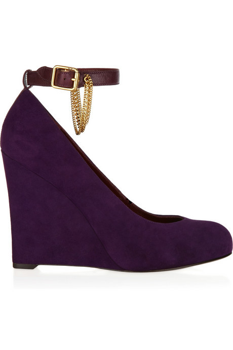 Marc Jacobs Chain Embellished Suede Wedges