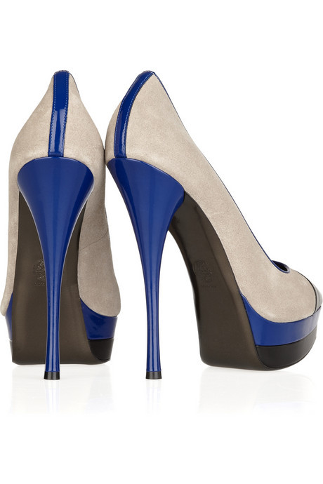 Versace colour-block suede and leather pumps