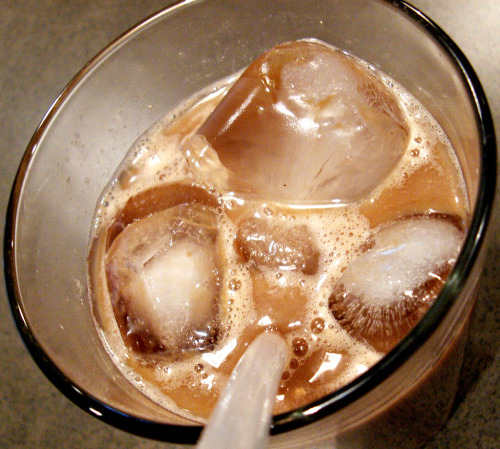 I made my own iced coffee this morning with… dun dun dun… instant coffee. Gasp! I know. You hear instant coffee, you automatically think of something like burnt rubber, but this turned out to be surprisingly good! I mean, it was no $3.45 tall light-iced skinny vanilla latte or Perfect Iced Coffee by Pioneer Woman, but still not bad! I'd make it again. Here's what I used: Ingredients:  2 teaspoons instant coffee granules  1 Splenda packet  3 tablespoons warm water 3/4 cup cold skim milk a few drops of vanilla extract (optional) Directions: In sealable jar, bottle, or cocktail shaker (I used a Nalgene because it was the only thing I could find), combine instant  coffee, splenda and warm water. Cover the container and shake until it is foamy.  Pour into a glass full of ice. Fill the glass with milk and stir. Optional: Adjust to  taste if necessary by adding a little vanilla extract.