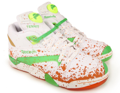 Packer Shoes x Reebok Court Victory Pump French Open. Is that supposed to be clay splattered on the shoes? because it honestly just looks like blood.