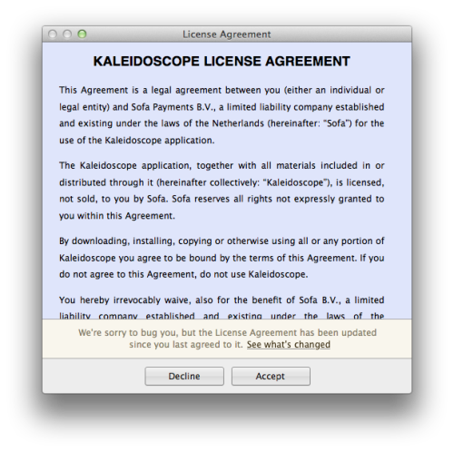 Kaleidoscope - Uses their own software to compare the new licence agreement to the old one. /screenshot - http://cl.ly/252r153E263v0R1E452y /via David Torras
