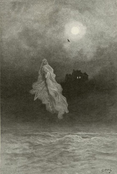 """Back into the tempest"", The Raven, Edgar Allan Poe By Gustave Doré, 1882."