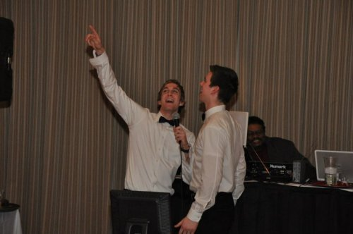 monarchshockey:  Goalies Jeff Zatkoff and Martin Jones singing during the 2011 At Your Service  Just found this and I love it!!!