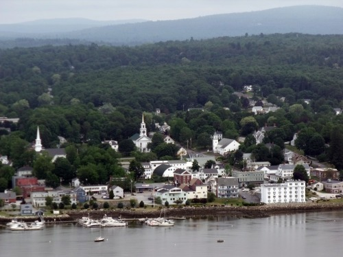 Bucksport Maine seen from the Penobscot Narrows Bridge Observatory about 430' above the water.
