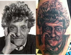 fuckyeahtattoos:  kurt vonnegut portrait by speck osterhout (ME!)  at mastermind ink, chicago   follow me!  www.catsgethigh.tumblr.com    GET NEAR ME. GET NEAR ME NOW.
