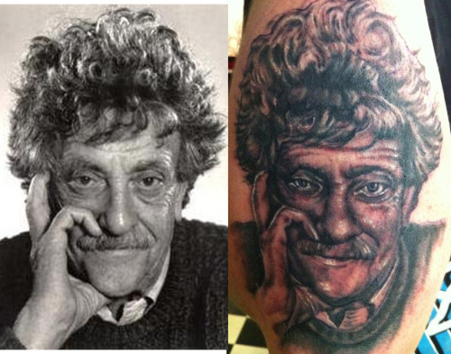 kurt vonnegut portrait by speck osterhout (ME!)  at mastermind ink, chicago   follow me!  www.catsgethigh.tumblr.com