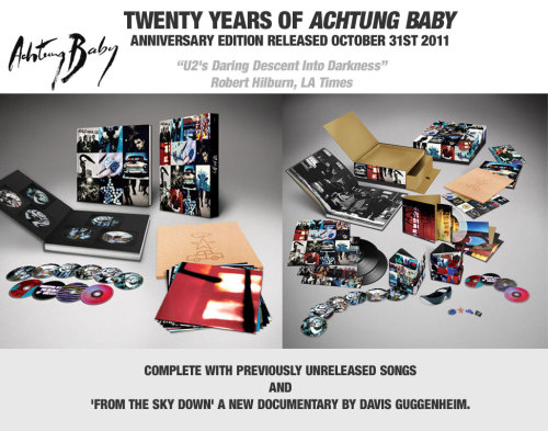 "I love Achtung Baby. Without a doubt it is U2's best album (as in: a unified collection of songs that create a sonic presence together that is greater than if they were listened to individually), and I wouldn't mind picking up a remastered version. HOWEVER … there comes a point where you have to say ""enough is enough lads"". The Sunday Times estimates U2's net worth to be £455 million (AU$705 million / US$740 million). If I cloned myself 3 times, and all of us worked at the same pay rate I'm currently earning, it would take me a mere 4,410 years to make that amount of money. Provided I didn't have to spend any of it on anything during those millennia.  Like on, say, food. Or a U2 CD that I've already got. Except now it's 'remastered'. But that's not the problem here. Oh no, the problem is that the CD is but the lowly 5th level in terms of collectability to celebrate U2AB's 20th birthday. The levels of which have been announced, but the prices haven't. Even though you're invited to pre-order them. Without knowing how much they'll be. Hold on … weren't these the guys who sang ""Sunday Bloody Sunday"", ""Miss Sarajevo"" and ""Walk On""? Anyway, for those who care, here are the 5 levels of collectability … 5: Standard CD4: Deluxe 2xCD (includes B-sides and rarities)3: Vinyl Box Set - 4 LPs (2 on transluscent blue vinyl) + 16 page booklet2: Super Deluxe Edition - 6xCD, 4xDVD, 16 art prints + 92pp hardback book1: Über Deluxe Edition - 6xCD, 4xDVD, 2xLP, 5x7"" (clear vinyl); 16 art prints, Popaganda Magazine, 4xBadges, sticker sheet, a copy of Bono's ""The Fly"" sunglasses, 84pp hardback … all contained in a magnetic puzzle tiled box. Correct me if I'm wrong, but shouldn't an Über Deluxe Edition contain everything? Isn't that what makes it über? If you're an insane fan, to get everything you want, you'll need to buy #1, #2 and #3.  Why? Because the 2nd level's book has an extra 8 pages, and the 3rd level's LP pack has 4 records … 2 more than the Über collection. Hope the fanatics have deep pockets.  I won't complain about this anymore provided that Paul, Adam, Larry & Davo donate to me an Über pack, plus my wages for the next 10 years (which is only 0.09% of the band's net worth) so that I can take a holiday to calm down from my current rage that I'm feeling over this sickening display of über consumerism. Thanks for your time. End of line."