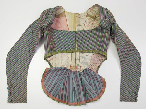 americanduchess:  The Met: Jacket, late 18th century Silk French What a fascinating pierrot-thing.  It's rather weird, isn't it?  And the lining is amazing!  Crazy beautiful! Check out the inside:  It's like a scrapbook of fabrics!   The stripes match up so beautifully in the back! Very impressive!  If you have ever tried to match patterns up you can appreciate the labour and love that went into this. The pattern matching is visually magnificent!   Look at those beautiful buttons and such dainty pink stitching!