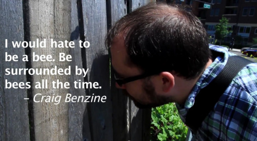 """I would hate to be a bee. Be surrounded by bees all the time."" - Craig Benzine  Watch this quote in action! A Farm in the City?"
