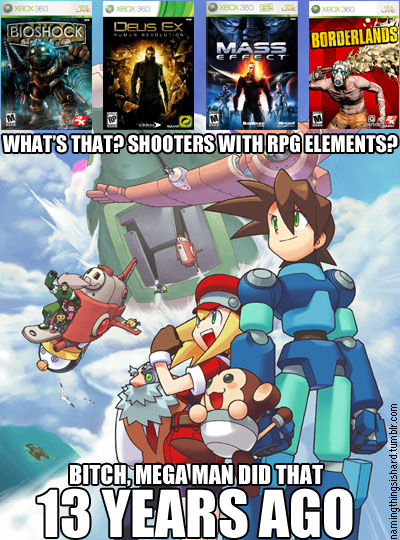 hosiesuave:  Except 3 of the games mentioned are First Person Shooters and not side-scrollers.   But that Deus Ex is the 4th one… also all of the Deus Ex games are Rpgs with shooter elements… who made this?