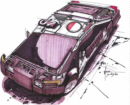 Con­cept art by Syd Mead for Blade Runner.