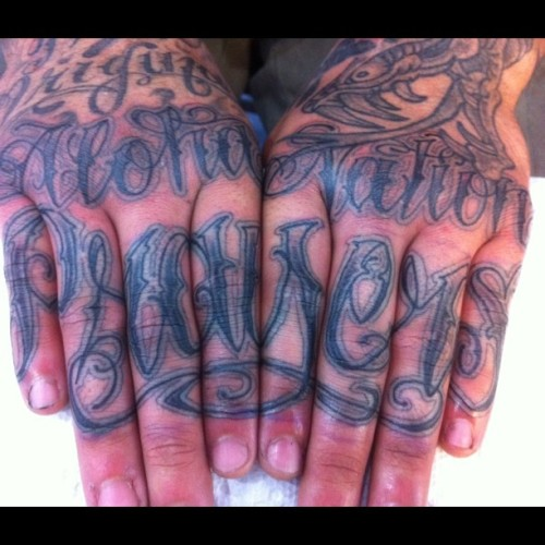 willrisestudio:  Next level knuckle tats (Taken with instagram)
