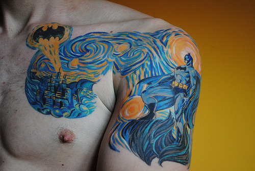 a-gang-of-wolves:  Starry Night and Batman? Oh hell yeah.