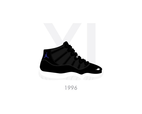 "Air Jordan XI ""Space Jam"" Black/Varsity Royal–White by Bruce Yan"