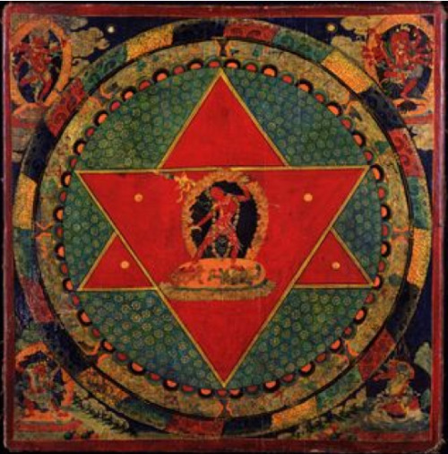"roskotaint:  Vajrayogini Mandala, Tibet; 18th century, Rubin Museum of Art ""I  began to understand that the goal of psychic development is the self.  There is no linear evolution; there is only a circumambulation of the  self."""
