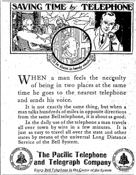 "~ Pacific Telephone and Telegraph Company, August 8th, 1911""In the daily use of the telephone a man travels all over town by wire in a few minutes""reblogged from classifiedhumanity"