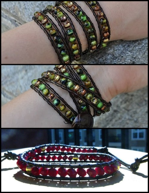 truebluemeandyou:  DIY Chan Luu Bracelet. Many sites have imitated Chan Luu's bracelet, but when I saw Momma Hear Me Roar's version here  (top)I thought it was really pretty and unique the way it was wrapped 4x around. She referred me onto a great tutorial at Craftay! here.