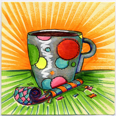 "I drew you a silver polka-dotted party mug of coffee with a noise maker and confetti!!!Hope you like it. This is part of my ""The Daily Coffee"" marker drawing series."