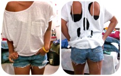 Skull Cutout, Off the shoulder tee  size medium $10