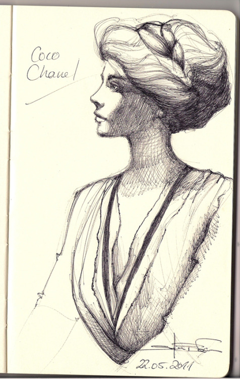 fuckyeahmoleskines:  a quick sketch of Coco Chanel in her very early years. I saw a very nice photo of her on the cover of her biography. So I had to catch it in a little drawing.
