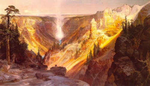 Thomas Moran was a 19th century painter who accompanied the earliest expeditions to explore the region of Wyoming now called Yellowstone. His paintings, one of which is shown above, captured the landscape and played an important (if slightly underdocumented) role in convincing Congress to establish Yellowstone as the first National Park in 1872. I personally have been visiting Yellowstone since before I was born (yes, I do mean in the womb), and can imagine no more beautiful place on earth.  Painting © Thomas Moran.