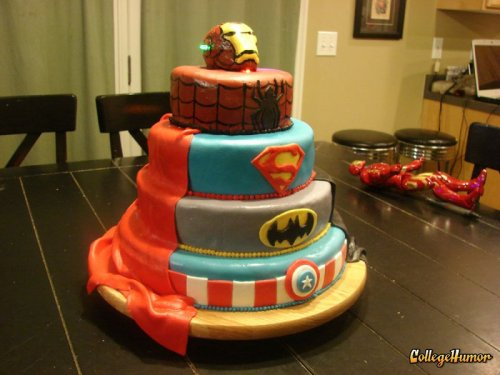 "Superhero Cake ""Mom, you're so stupid! You can't mix Marvel and DC!"" - Tommy, 31 More nerdy delights over at CollegeHumor.com"