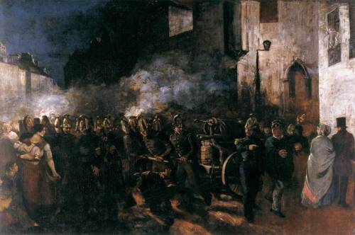 COURBET, GustaveFiremen Running to a Fire1850-51Oil on canvas, 388 x 580 cmMusée du Petit Palais, Paris